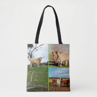 Highland Cow Photo Collage, Tote Shopping Bag