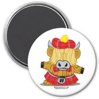 Highland Cow Red Kilt 3 Inch Round Magnet