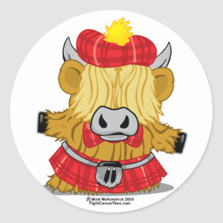 Highland Cow Red Kilt Classic Round Sticker