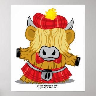Highland Cow Red Kilt Poster