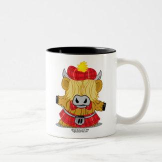 Highland Cow Red Kilt Two-Tone Coffee Mug