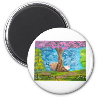 HIGHLAND COW SHEEP FOLK PAINTING 2 INCH ROUND MAGNET