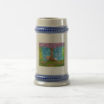 HIGHLAND COW SHEEP FOLK PAINTING BEER STEIN