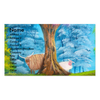 HIGHLAND COW SHEEP FOLK PAINTING Double-Sided STANDARD BUSINESS CARDS (Pack OF 100)