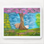 HIGHLAND COW SHEEP FOLK PAINTING MOUSE PAD