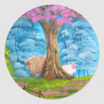 HIGHLAND COW SHEEP FOLK PAINTING ROUND STICKERS