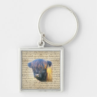 Highland cow Silver-Colored square keychain