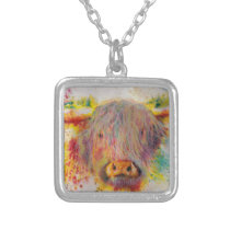 Highland Cow Silver Plated Necklace