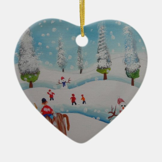 Highland cow snowman painting ceramic ornament