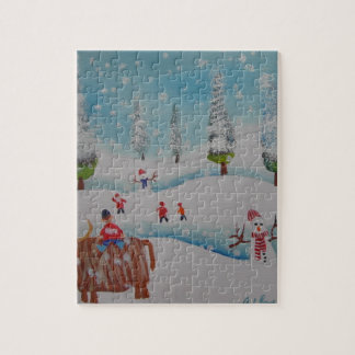 Highland cow snowman painting puzzles