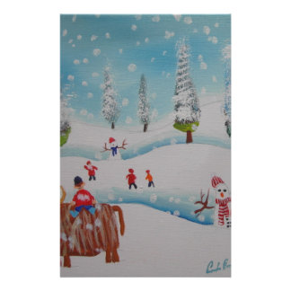 Highland cow snowman painting stationery