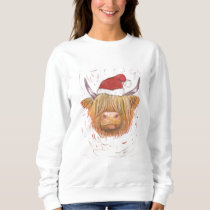 Highland Cow wearing hat Christmas Jumper Sweatshirt