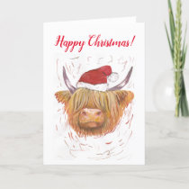 Highland Cow with Christmas Hat hairy coo Holiday Card