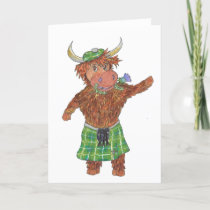 Highland Cow with kilt and thistle flower in mouth Holiday Card