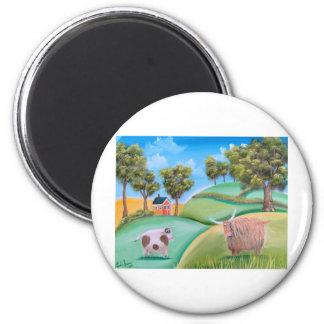 Highland Cows 2 Inch Round Magnet