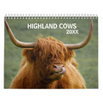 Highland Cows Farm Animal Scotland Any year Calendar