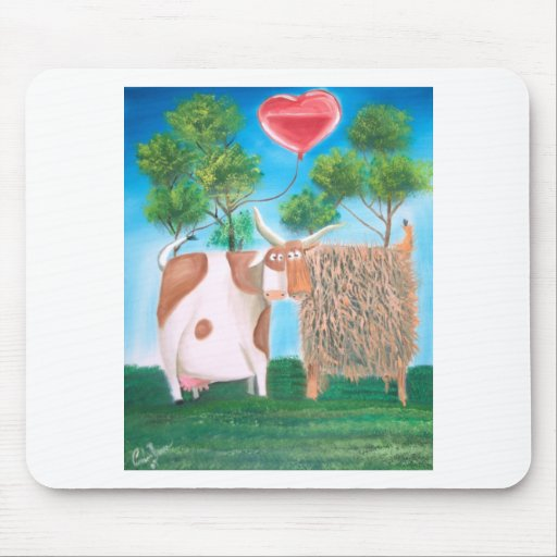 HIGHLAND COWS LOVE HEART PAINTING MOUSE PAD