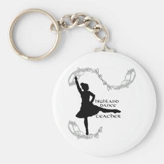 Highland Dance Teacher - Black Silhouette Basic Round Button Keychain