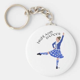 Highland Dancer in Blue Basic Round Button Keychain