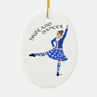 Highland Dancer in Blue Double-Sided Oval Ceramic Christmas Ornament