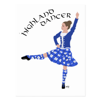 Highland Dancer in Blue Postcard