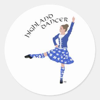 Highland Dancer in Blue Round Sticker