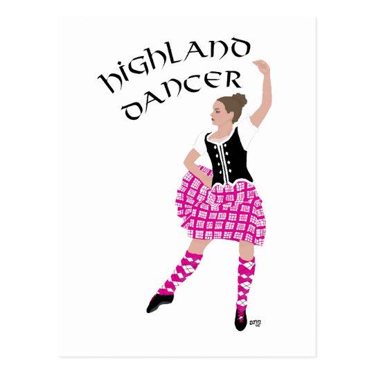 Highland Dancer Pink Postcard