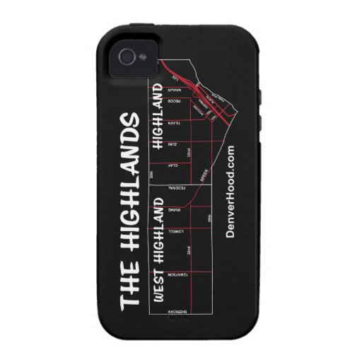 Highland Neighborhood Map - White Text Case For The iPhone 4