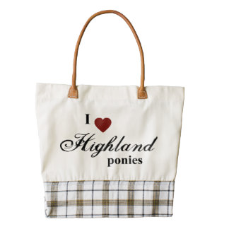 Highland ponies zazzle HEART tote bag