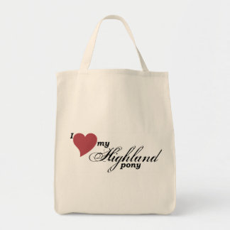Highland pony grocery tote bag