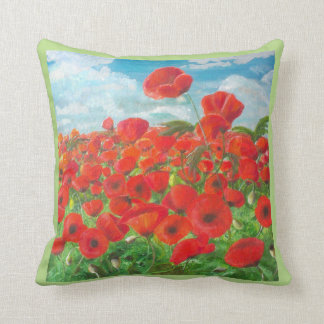 Highland Poppies Throw Pillow