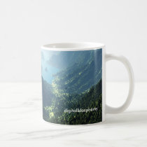 highland, spring, valley, mountians, forests, lake, fantasy, mountains, Mug with custom graphic design