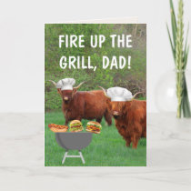 Highland Steer Barbecue Father's Day Card