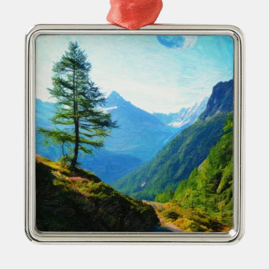 Highland Trail oil painting Metal Ornament