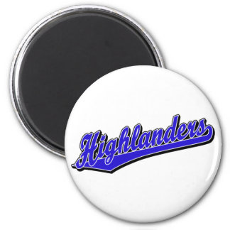 Highlanders script logo in blue 2 inch round magnet