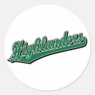 Highlanders script logo in green classic round sticker