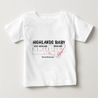 Highlands Baby Neighborhood Map - Black Text Baby T-Shirt