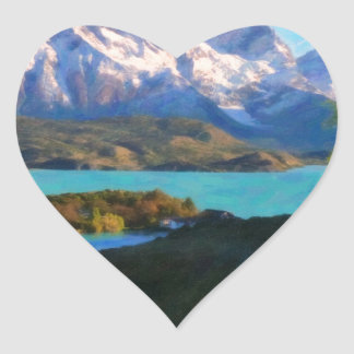 Highlands of Chile - Lago Pehoe in Torres del Pain Heart Sticker