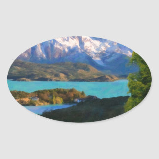 Highlands of Chile - Lago Pehoe in Torres del Pain Oval Sticker