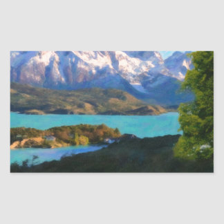 Highlands of Chile - Lago Pehoe in Torres del Pain Rectangular Sticker