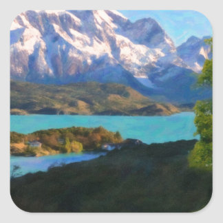 Highlands of Chile - Lago Pehoe in Torres del Pain Square Sticker