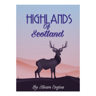 Highlands Of Scotland Stag travel poster