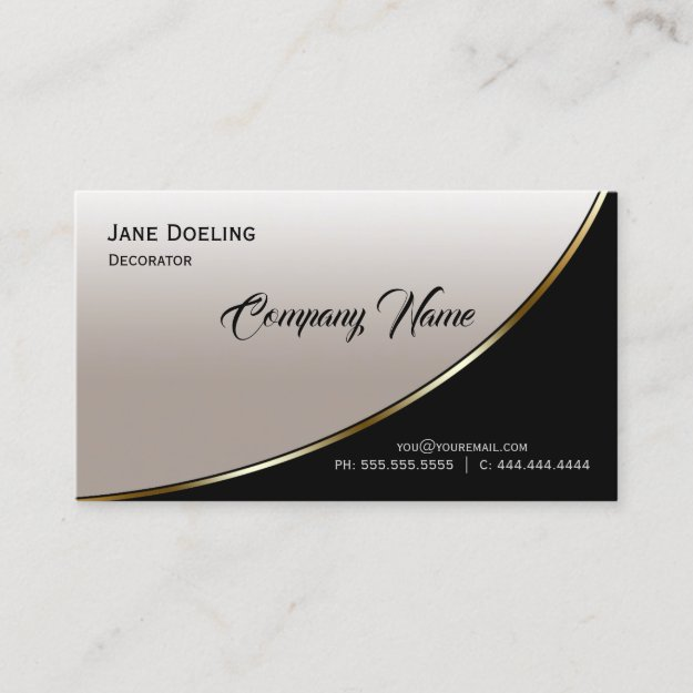 Highlight Black Champagne Modern Professional Business Card