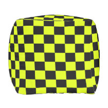 Highlight Yellow and Black Checkered Outdoor Pouf