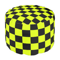 Highlight Yellow and Black Checkered Pouf
