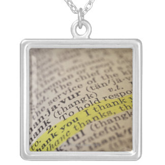 Highlighted dictionary entry square pendant necklace