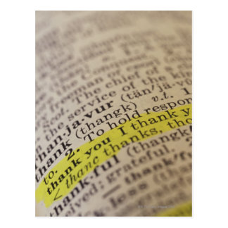 Highlighted dictionary entry postcard