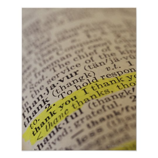 Highlighted dictionary entry poster