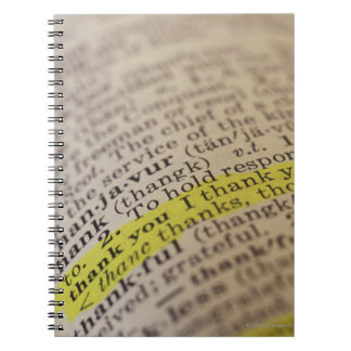 Highlighted dictionary entry spiral notebook