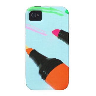 HIGHLIGHTER PENS Neon PINK ORANGE GREEN LIME SCHOO Case-Mate iPhone 4 Cover